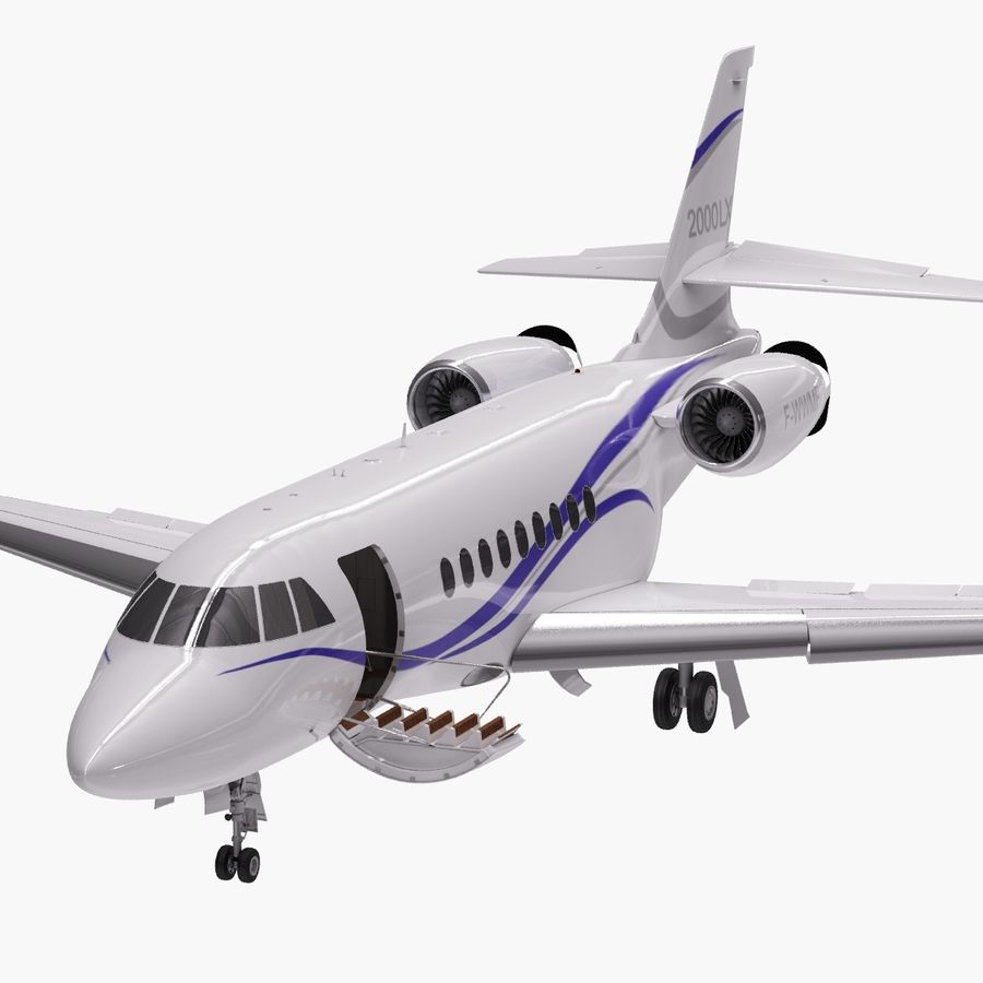 Dassault Falcon 2000LXS. Ożywiony. 2 royalty-free 3d model - Preview no. 9
