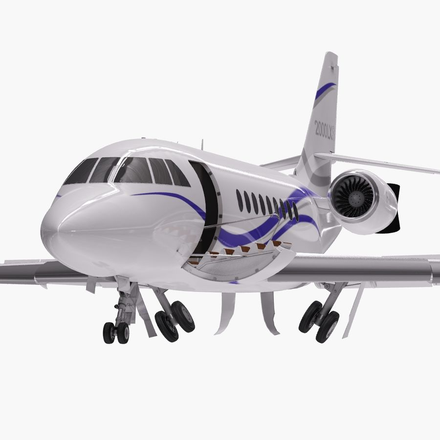 Dassault Falcon 2000LXS. Ożywiony. 2 royalty-free 3d model - Preview no. 6