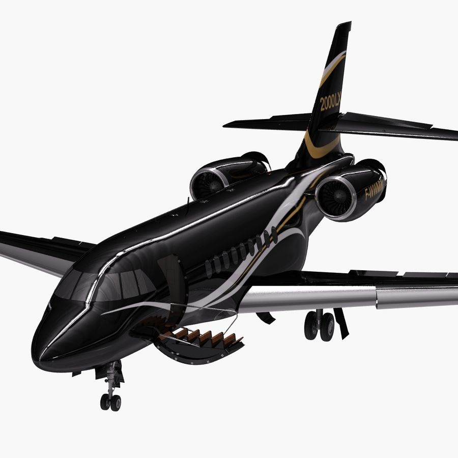 Dassault Falcon 2000LXS. Ożywiony. 4 royalty-free 3d model - Preview no. 12