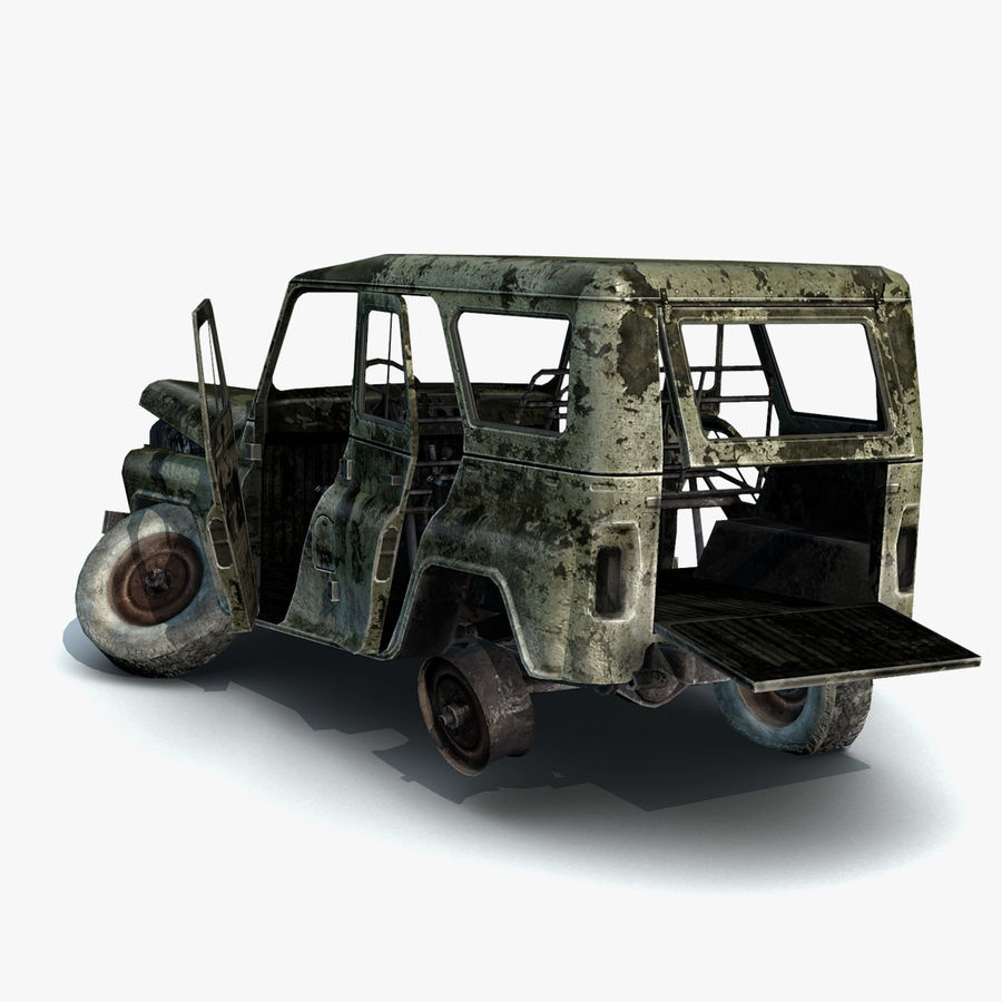 UAZ-3151 Militair verbrand royalty-free 3d model - Preview no. 7