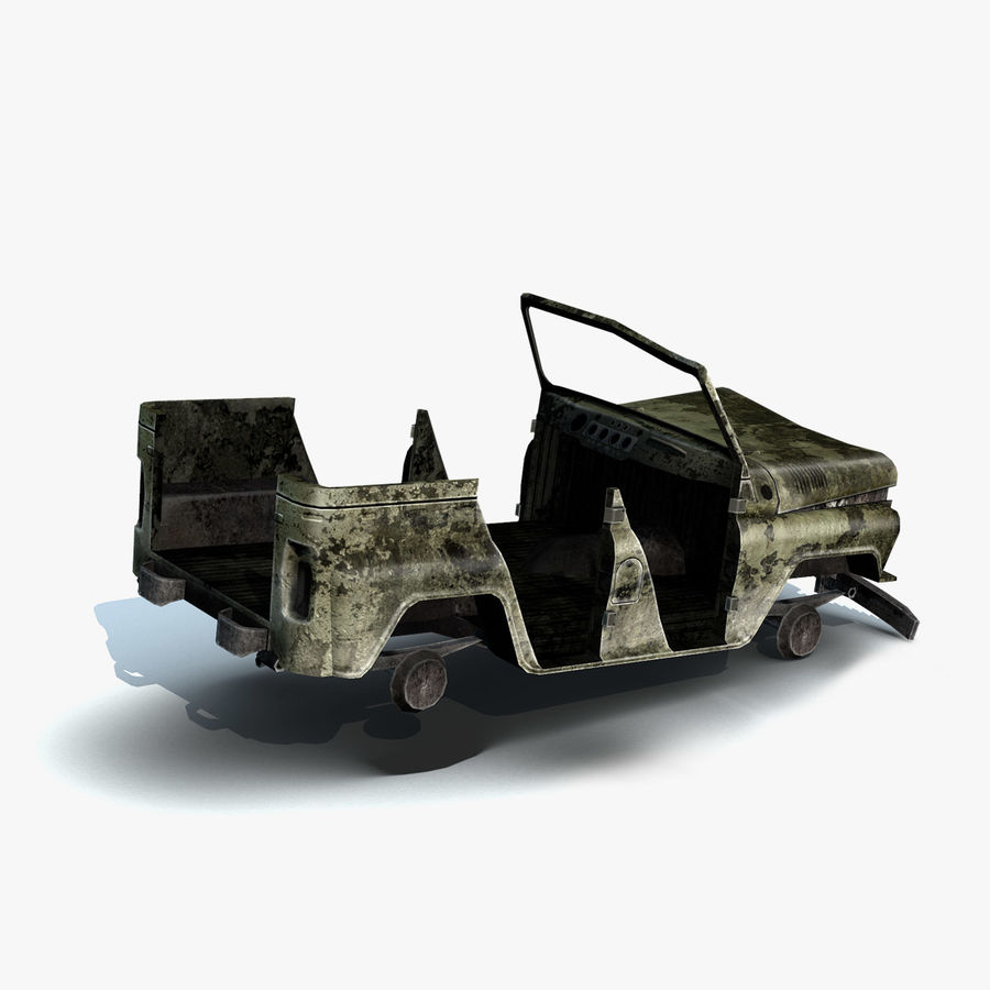 UAZ-3151 Militair verbrand royalty-free 3d model - Preview no. 12