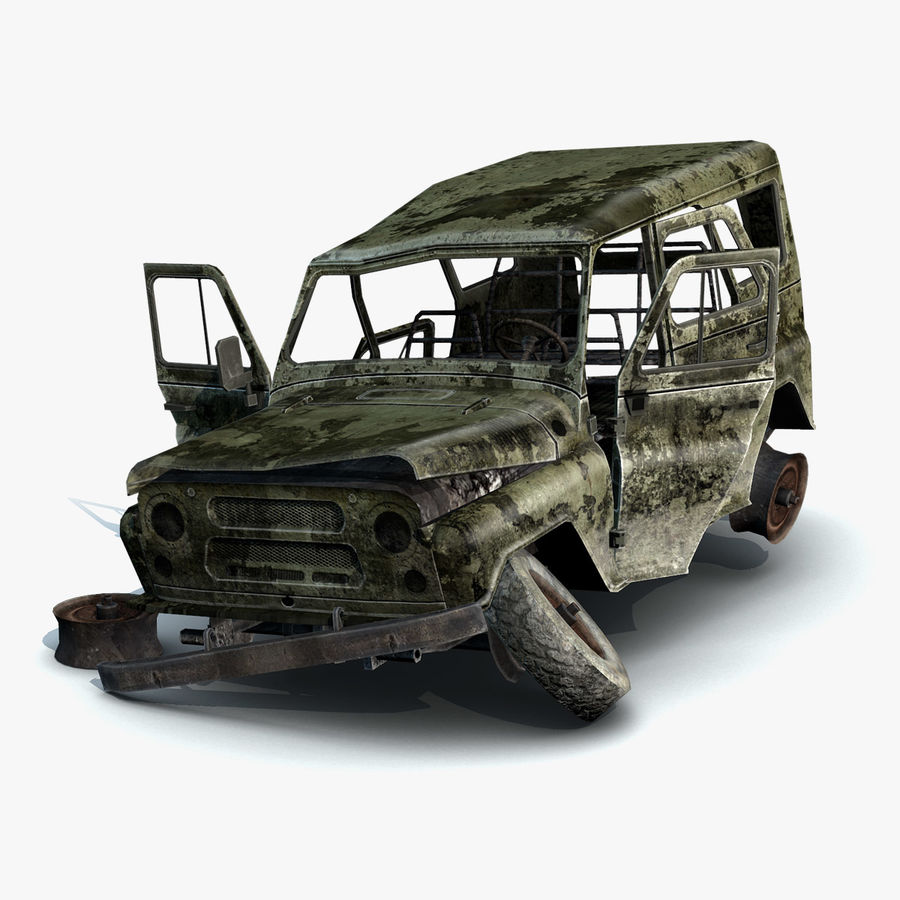 UAZ-3151 Militair verbrand royalty-free 3d model - Preview no. 2