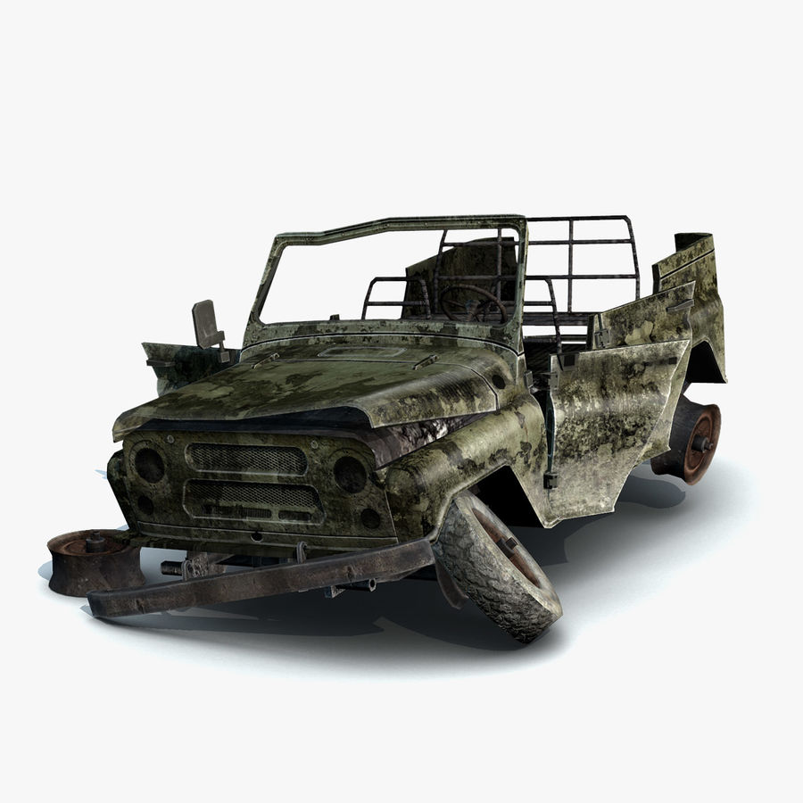 UAZ-3151 Militair verbrand royalty-free 3d model - Preview no. 3
