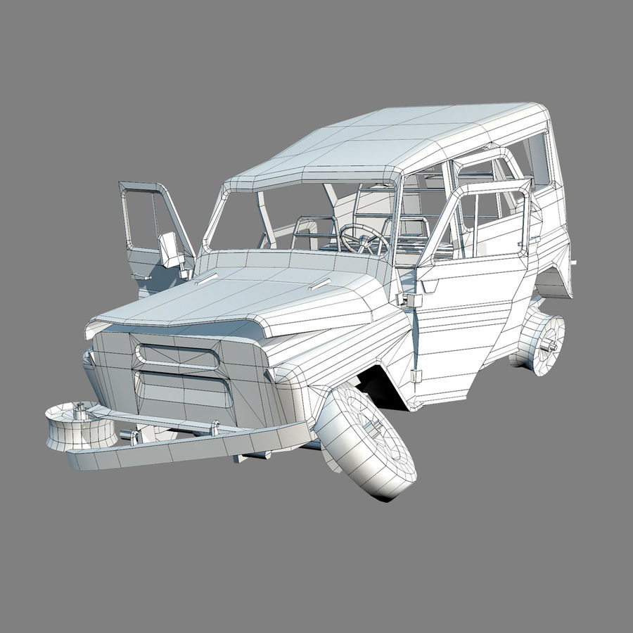 UAZ-3151 Militair verbrand royalty-free 3d model - Preview no. 13