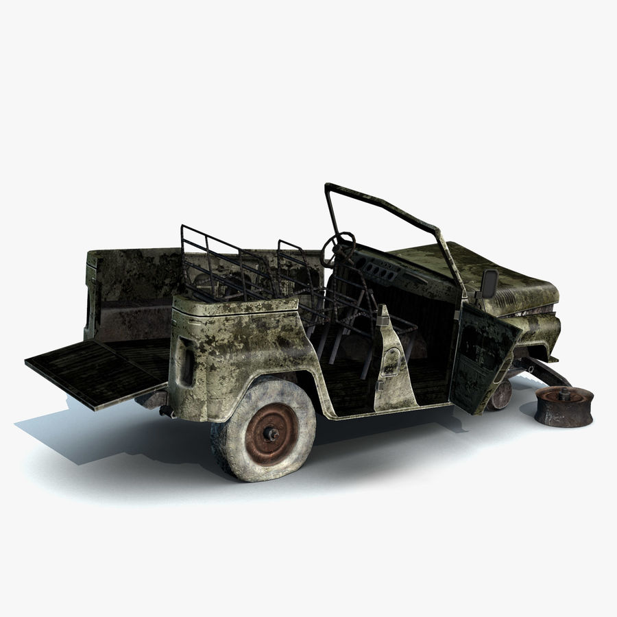 UAZ-3151 Militair verbrand royalty-free 3d model - Preview no. 11