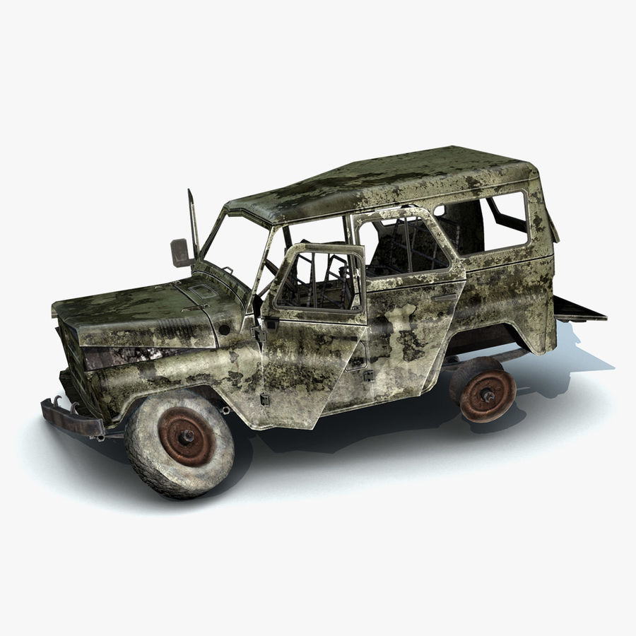 UAZ-3151 Militair verbrand royalty-free 3d model - Preview no. 4