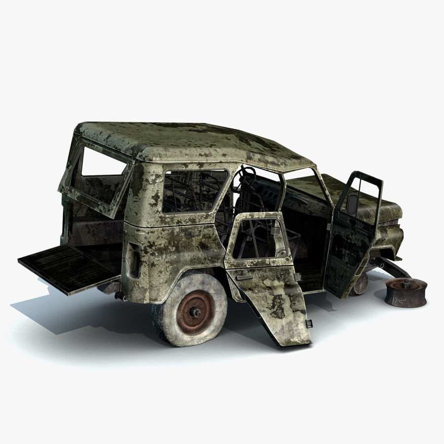 UAZ-3151 Militair verbrand royalty-free 3d model - Preview no. 10