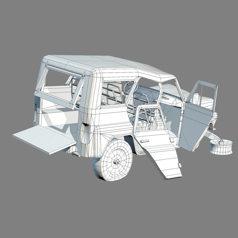 UAZ-3151 Militair verbrand royalty-free 3d model - Preview no. 14