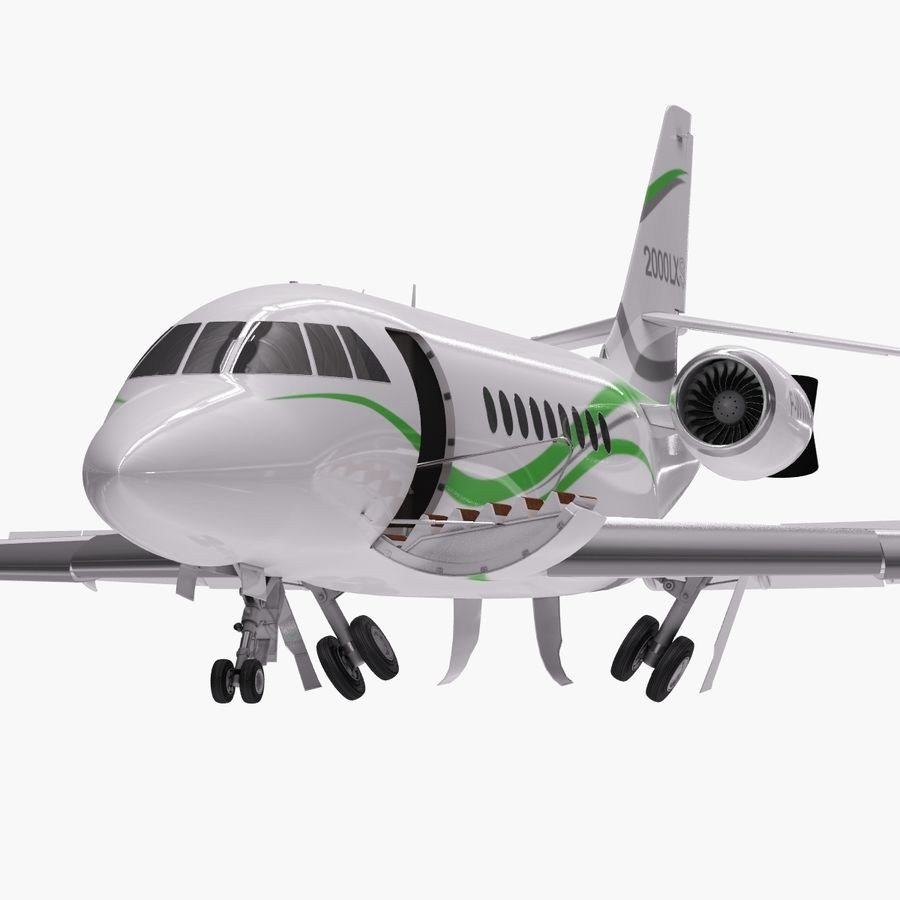 Dassault Falcon 2000LXS. Ożywiony. 3 royalty-free 3d model - Preview no. 6