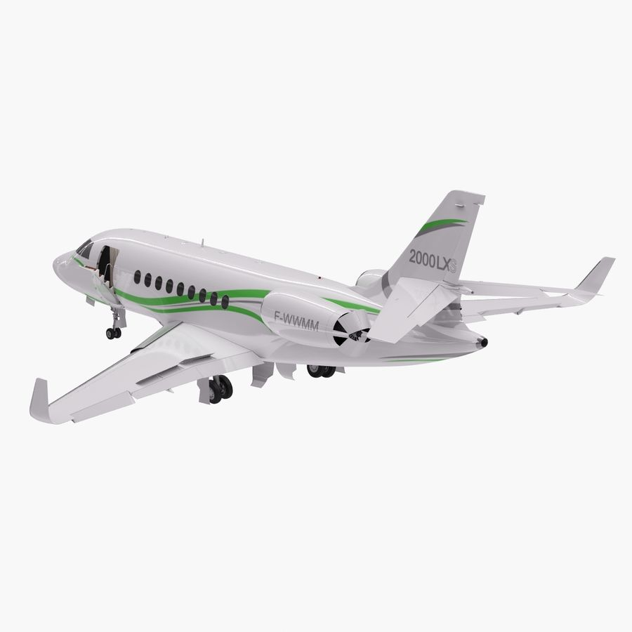 Dassault Falcon 2000LXS. Ożywiony. 3 royalty-free 3d model - Preview no. 4