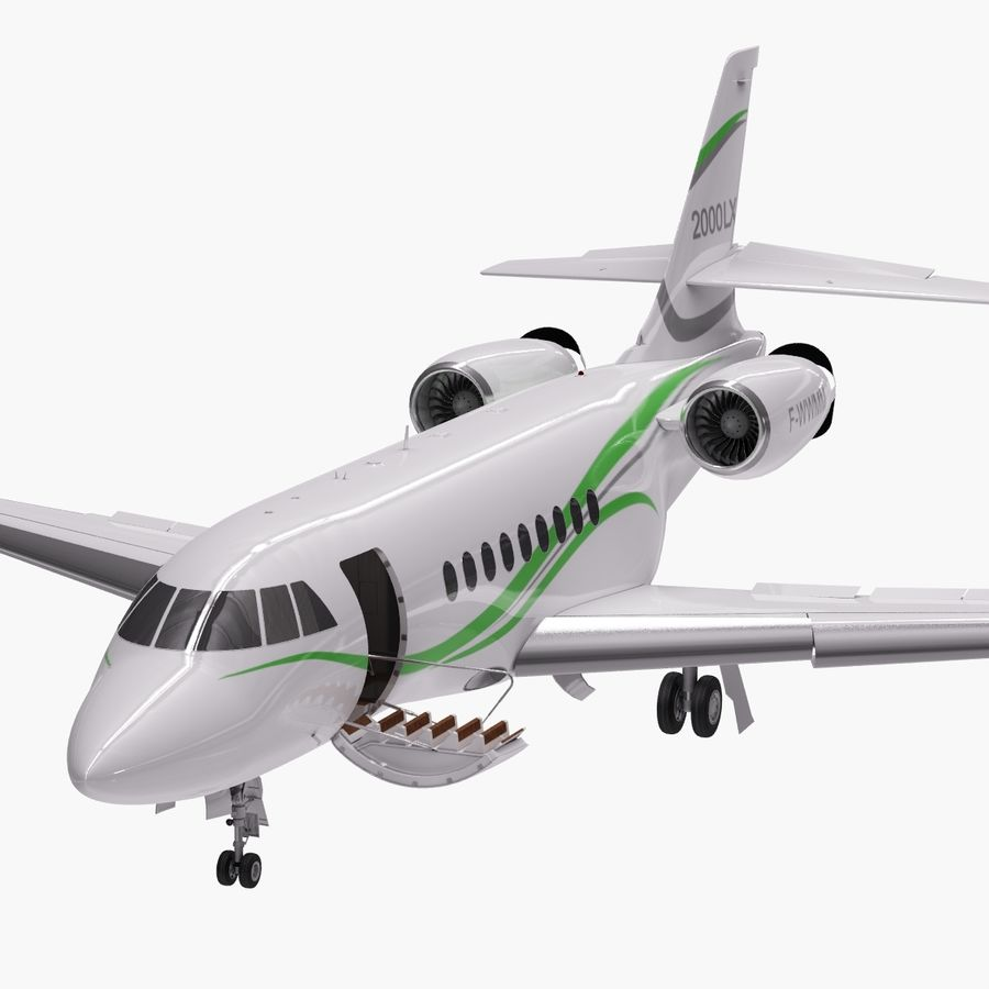 Dassault Falcon 2000LXS. Ożywiony. 3 royalty-free 3d model - Preview no. 12