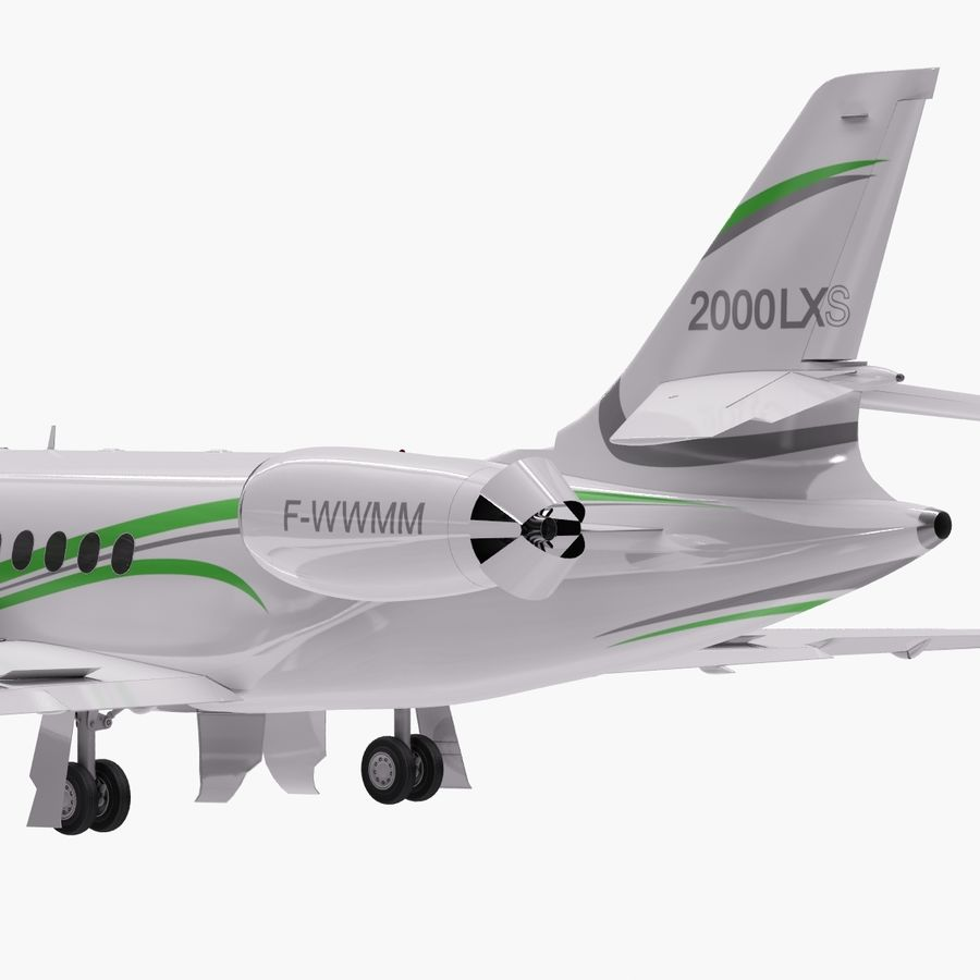 Dassault Falcon 2000LXS. Ożywiony. 3 royalty-free 3d model - Preview no. 3