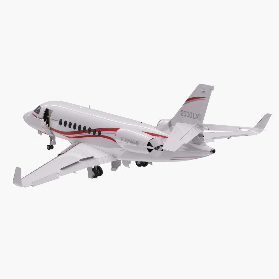 Dassault Falcon 2000LXS. Ożywiony. royalty-free 3d model - Preview no. 4