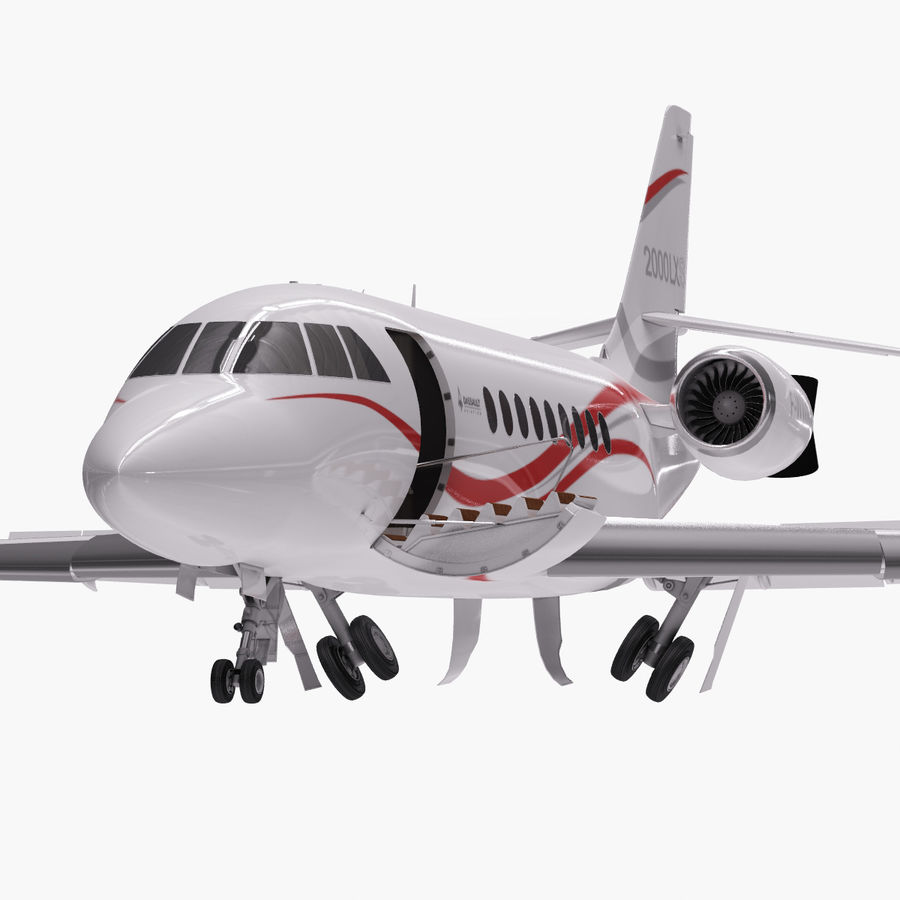 Dassault Falcon 2000LXS. Ożywiony. royalty-free 3d model - Preview no. 6