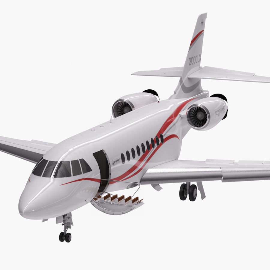 Dassault Falcon 2000LXS. Ożywiony. royalty-free 3d model - Preview no. 9