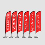 Kolekcja flag banner reklamowy 3d model