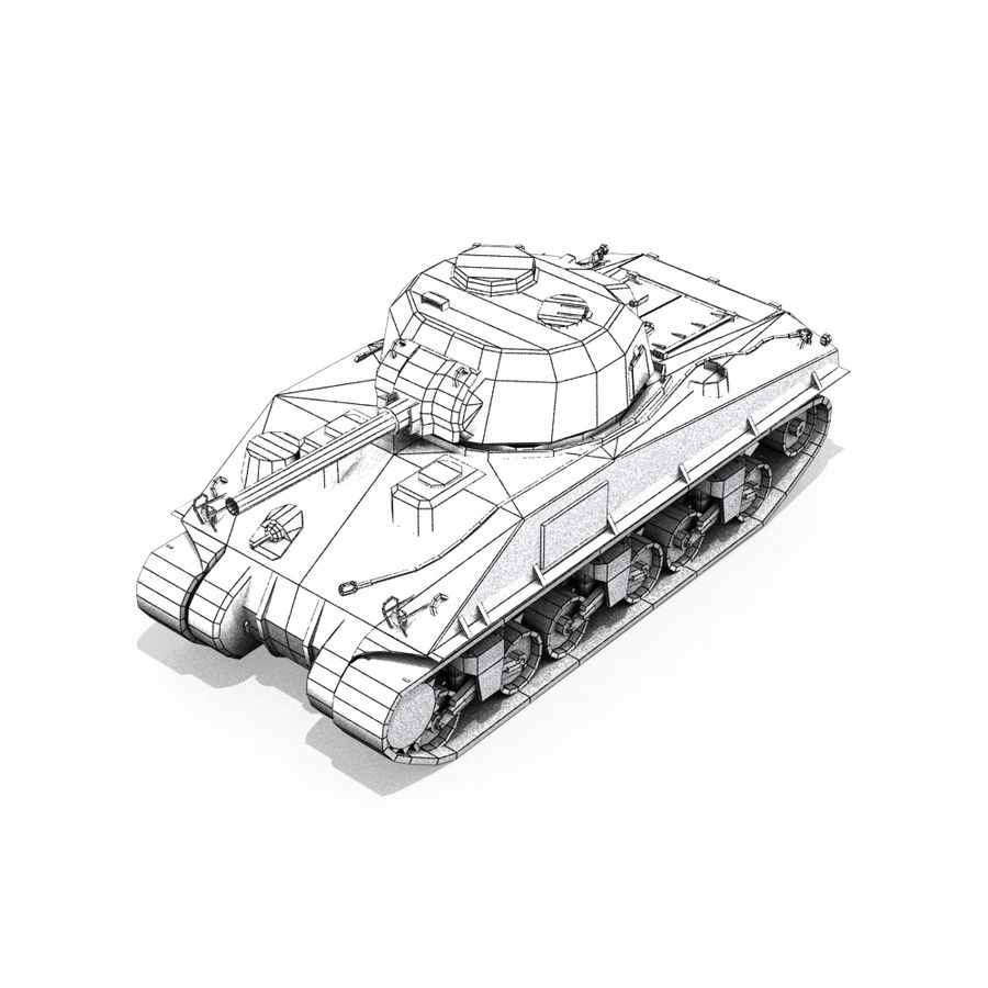 Carro armato Sherman M4 royalty-free 3d model - Preview no. 16