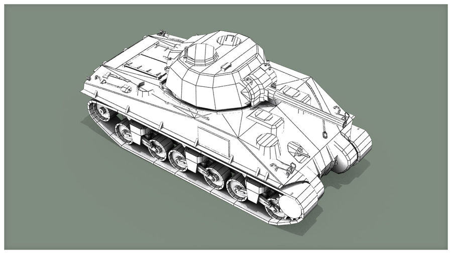 Carro armato Sherman M4 royalty-free 3d model - Preview no. 18