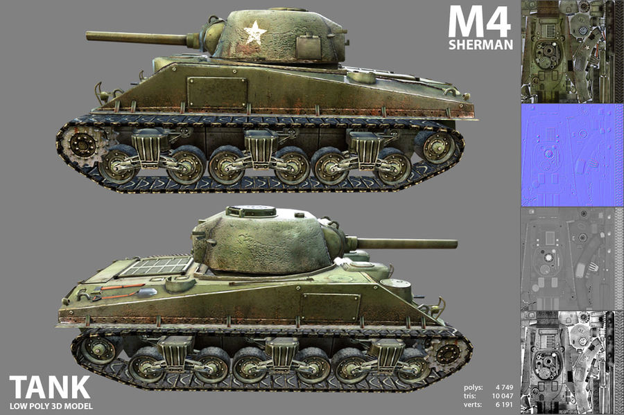 Carro armato Sherman M4 royalty-free 3d model - Preview no. 6