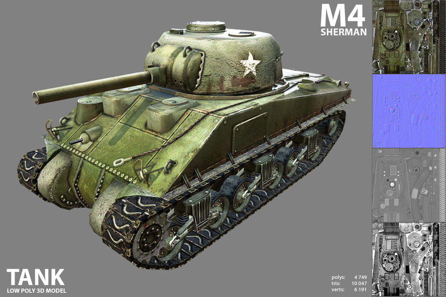 Carro armato Sherman M4 royalty-free 3d model - Preview no. 3