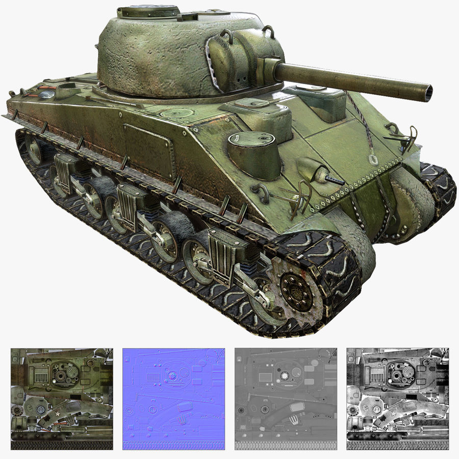 Carro armato Sherman M4 royalty-free 3d model - Preview no. 1