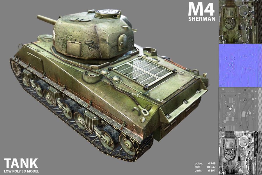 Carro armato Sherman M4 royalty-free 3d model - Preview no. 4