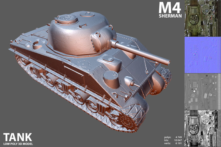 Carro armato Sherman M4 royalty-free 3d model - Preview no. 7