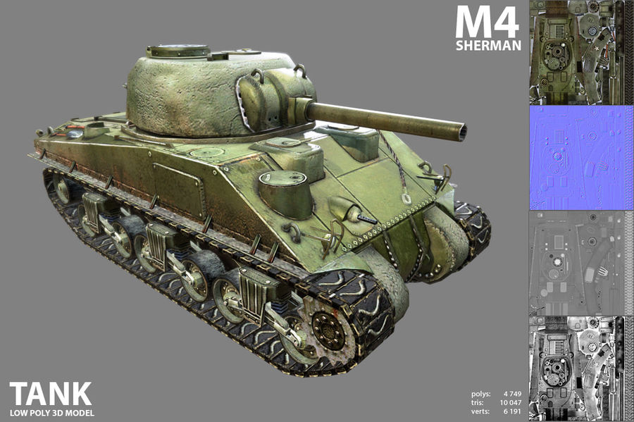 Carro armato Sherman M4 royalty-free 3d model - Preview no. 2