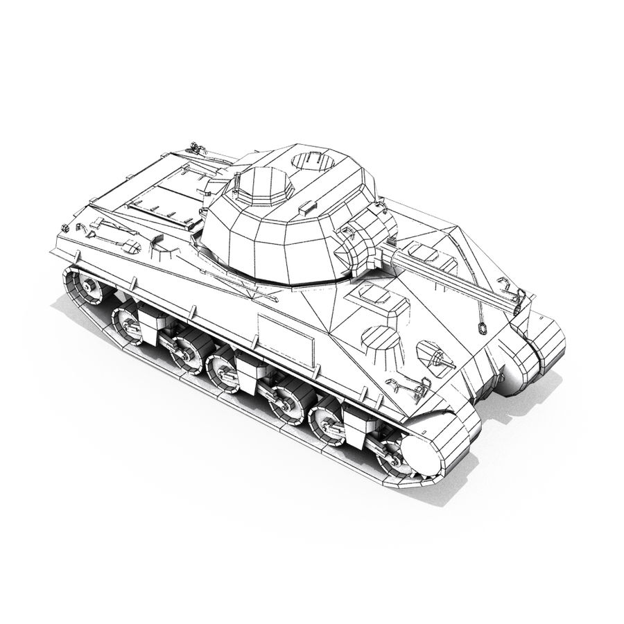 Carro armato Sherman M4 royalty-free 3d model - Preview no. 17