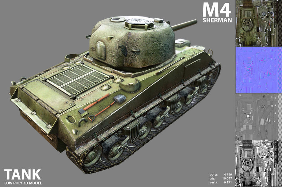 Carro armato Sherman M4 royalty-free 3d model - Preview no. 5