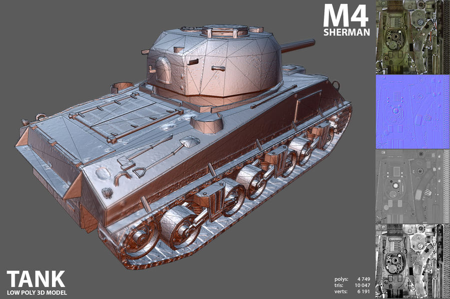 Carro armato Sherman M4 royalty-free 3d model - Preview no. 9