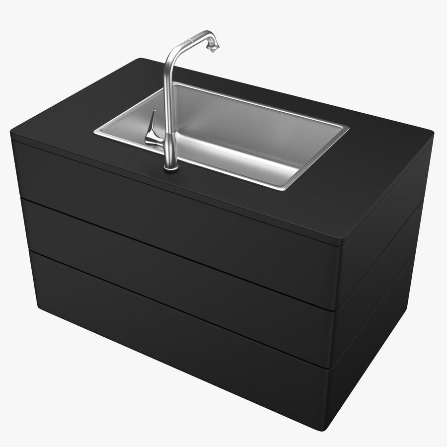 Lavello e rubinetto della cucina royalty-free 3d model - Preview no. 3