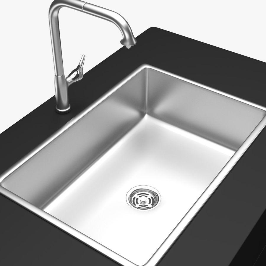 Lavello e rubinetto della cucina royalty-free 3d model - Preview no. 5