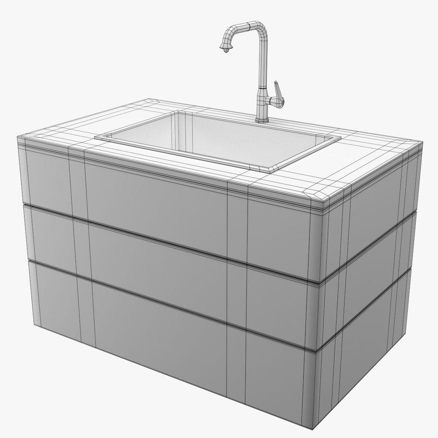 Lavello e rubinetto della cucina royalty-free 3d model - Preview no. 10