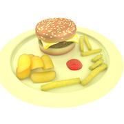 Burger, frites et frites 3d model