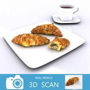 Croissanter med tekopp 3d model