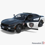 Dodge Charger 2015 politieauto opgetuigd 3d model