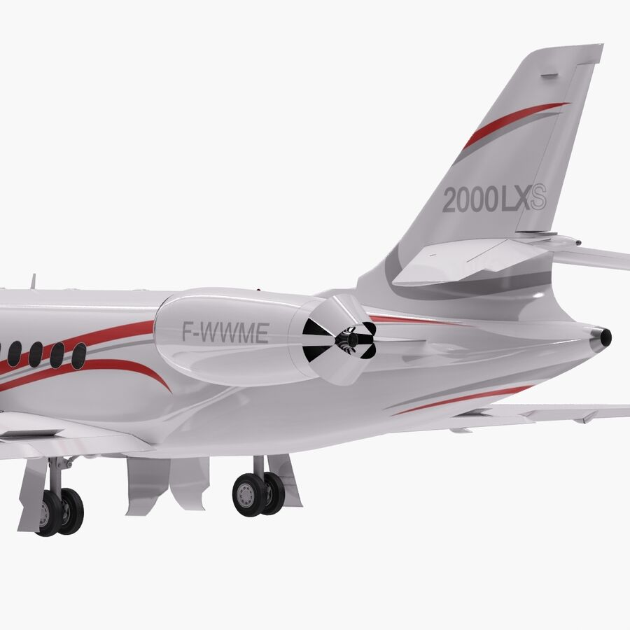 Dassault Falcon 2000LXS. Ożywiony. 6 royalty-free 3d model - Preview no. 3