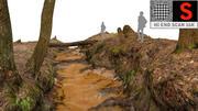 Leśny potok, rzeka 3d model