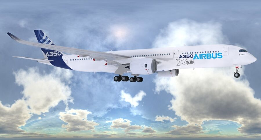 空中客车A350-900 royalty-free 3d model - Preview no. 3