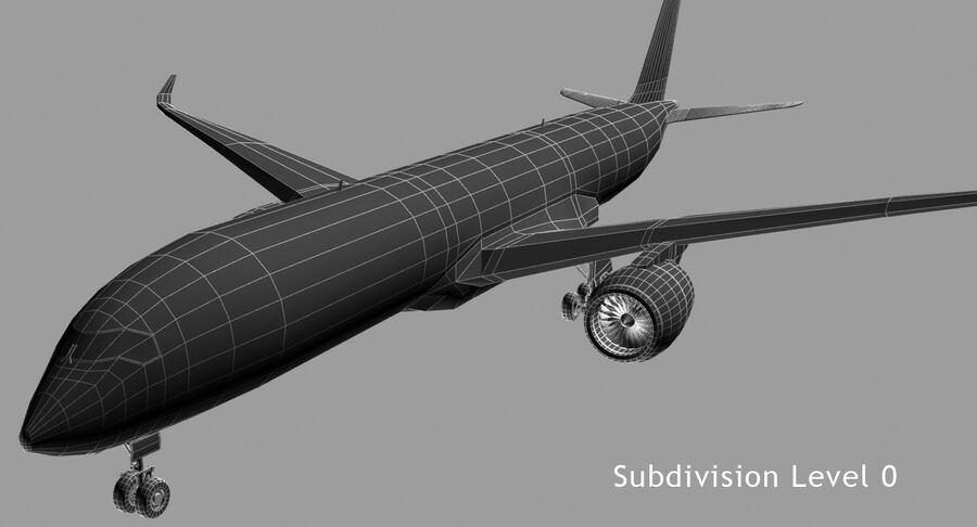 Airbus A350-900 royalty-free modelo 3d - Preview no. 4