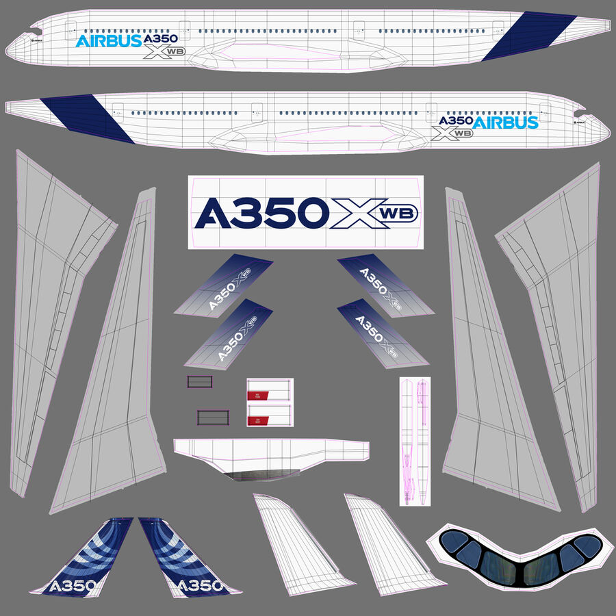 空中客车A350-900 royalty-free 3d model - Preview no. 28