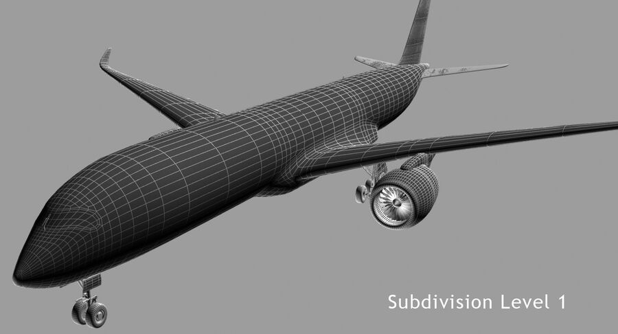 Airbus A350-900 royalty-free modelo 3d - Preview no. 5