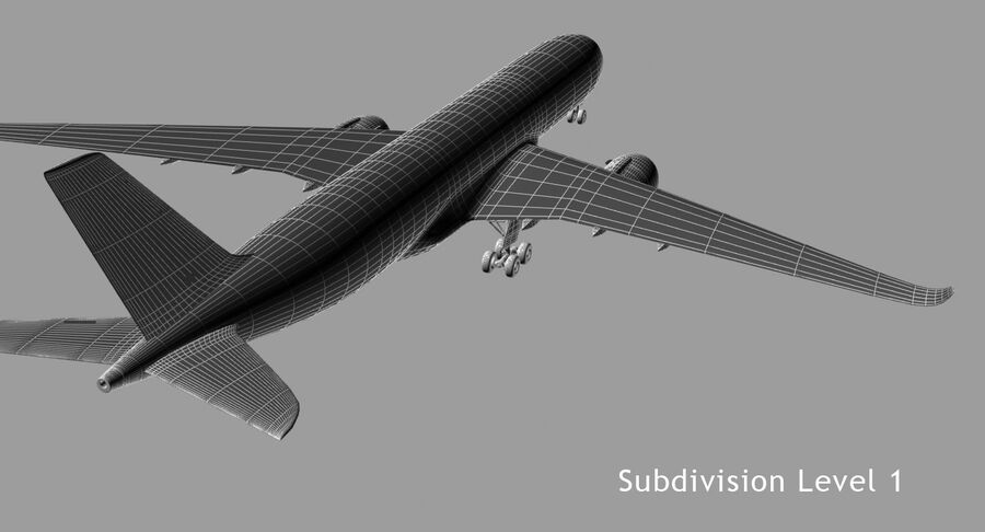 空中客车A350-900 royalty-free 3d model - Preview no. 9