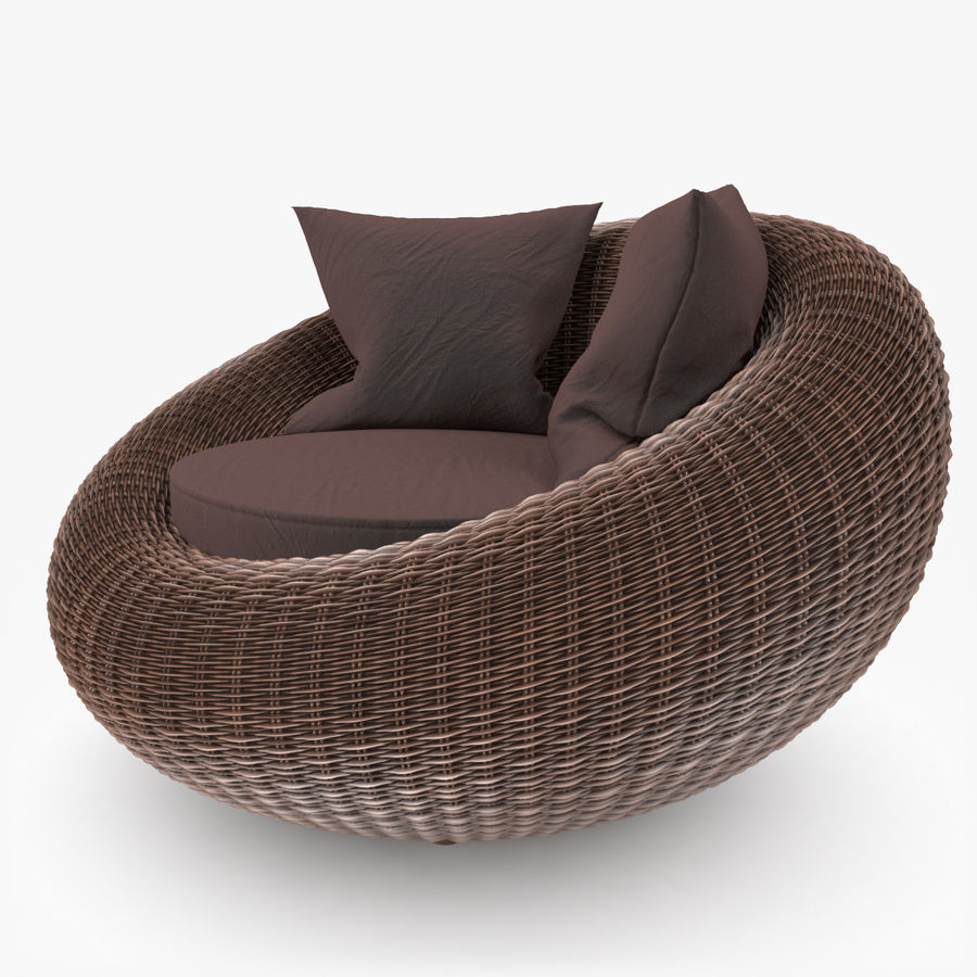 Rattan Furniture Kiwi royalty-free 3d model - Preview no. 3