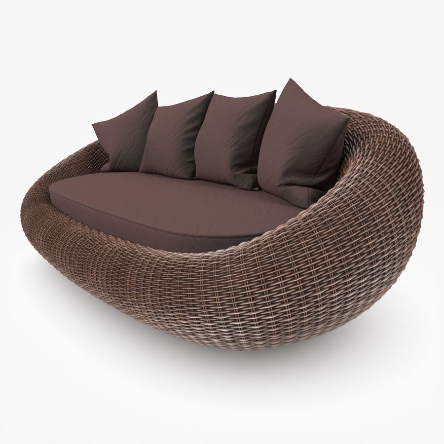 Rattan Furniture Kiwi royalty-free 3d model - Preview no. 7