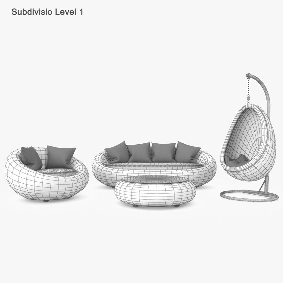 Rattan Furniture Kiwi royalty-free 3d model - Preview no. 34