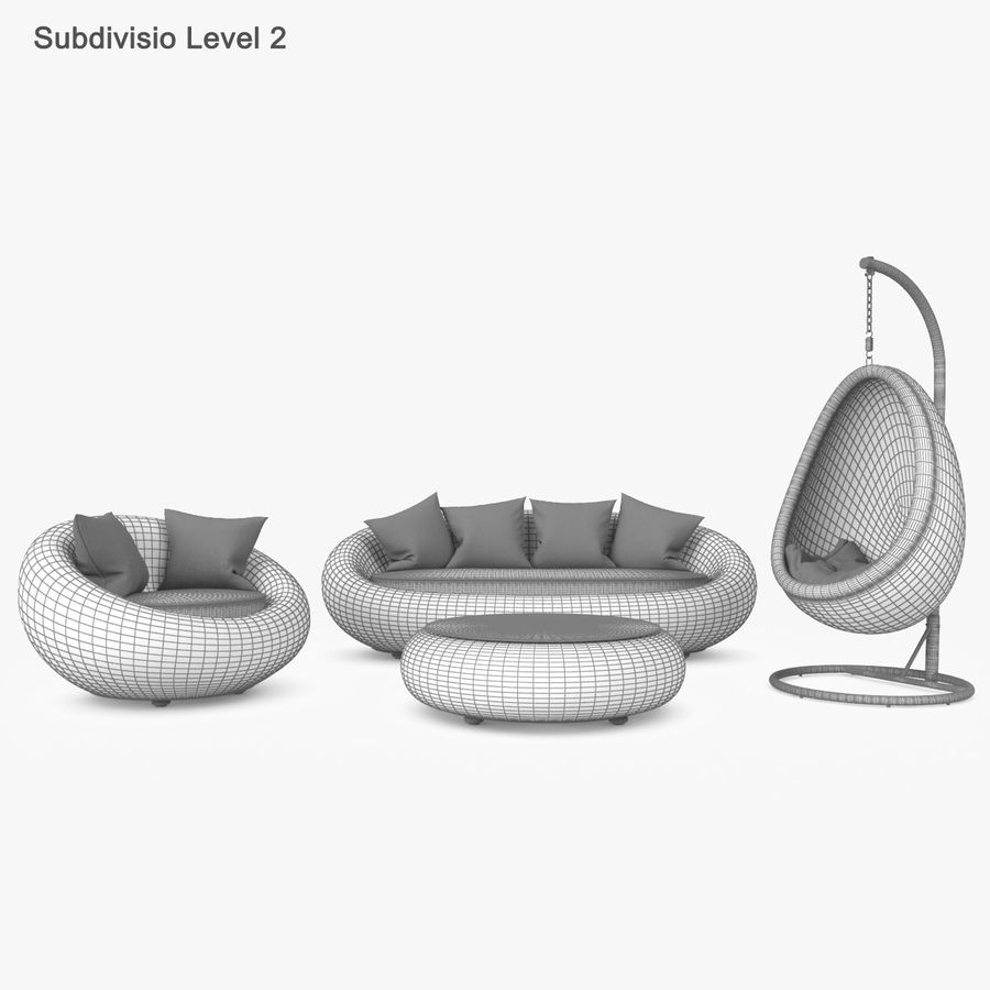 Rattan Furniture Kiwi royalty-free 3d model - Preview no. 44