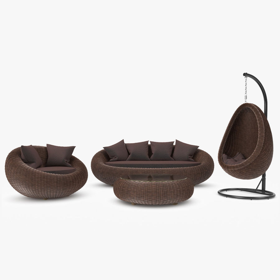 Rattan Furniture Kiwi royalty-free 3d model - Preview no. 1