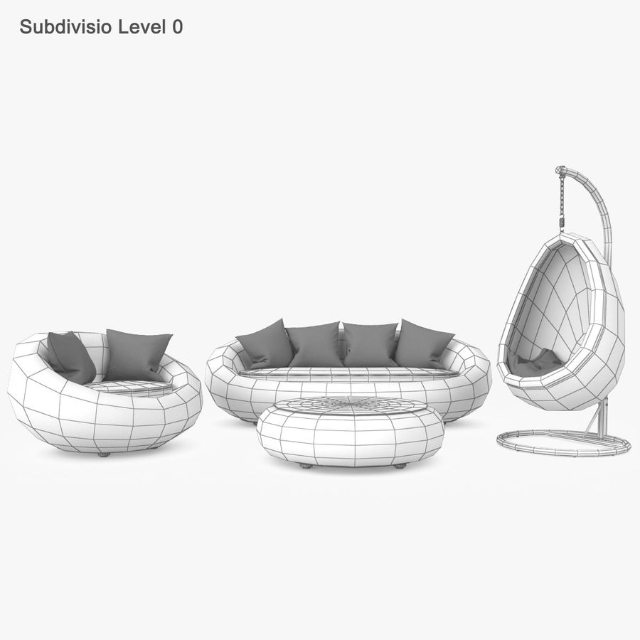 Rattan Furniture Kiwi royalty-free 3d model - Preview no. 24